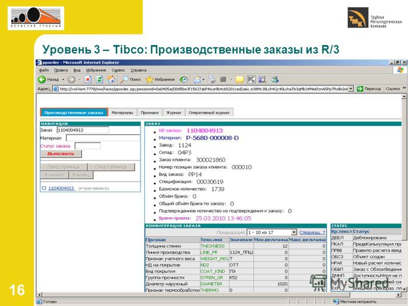 16 Уровень 3 – Tibco: Производственные заказы из R/3