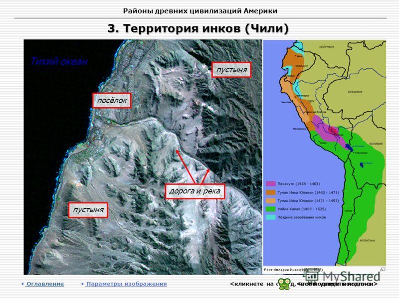 Районы древних цивилизаций Америки 3. Территория инков (Чили) Оглавление Оглавление Параметры изображения пустыня Тихий океан посёлок пустыня дорога и река
