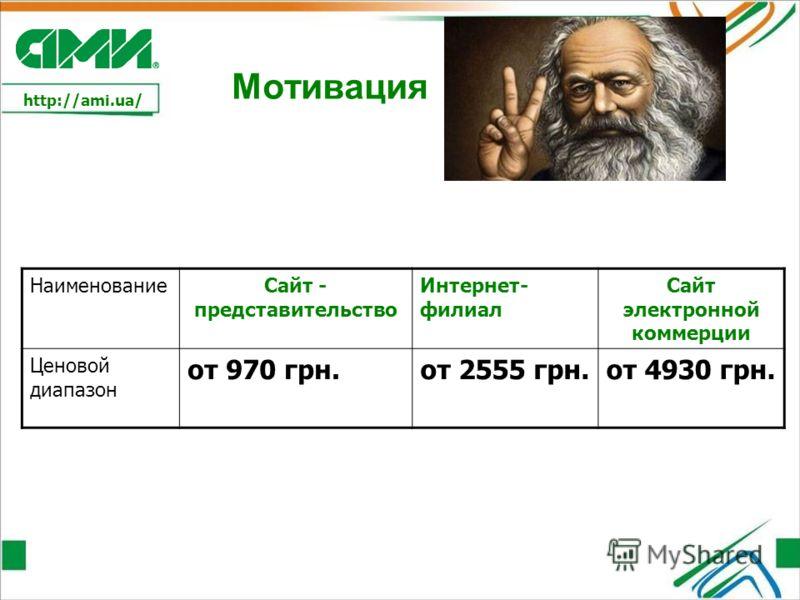 http://ami.ua/ Мотивация НаименованиеСайт - представительство Интернет- филиал Сайт электронной коммерции Ценовой диапазон от 970 грн.от 2555 грн.от 4930 грн.