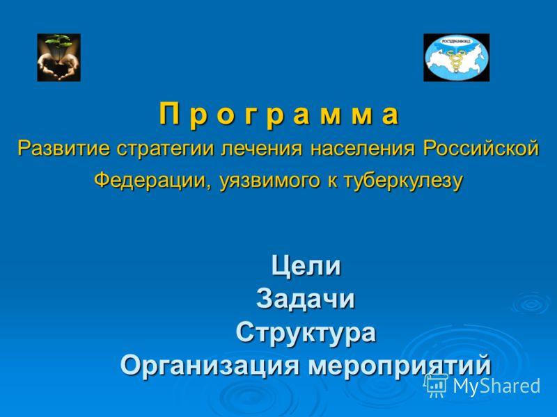 Цели Задачи Структура Организация мероприятий П р о г р а м м а Развитие стратегии лечения населения Российской Федерации, уязвимого к туберкулезу