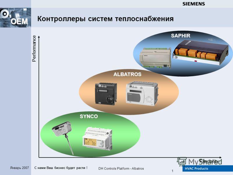 С нами Ваш бизнес будет расти ! OEM DH Controls Platform - Albatros 1 Январь 2007 Flexibility Performance SAPHIR ALBATROS SYNCO Контроллеры систем теплоснабжения
