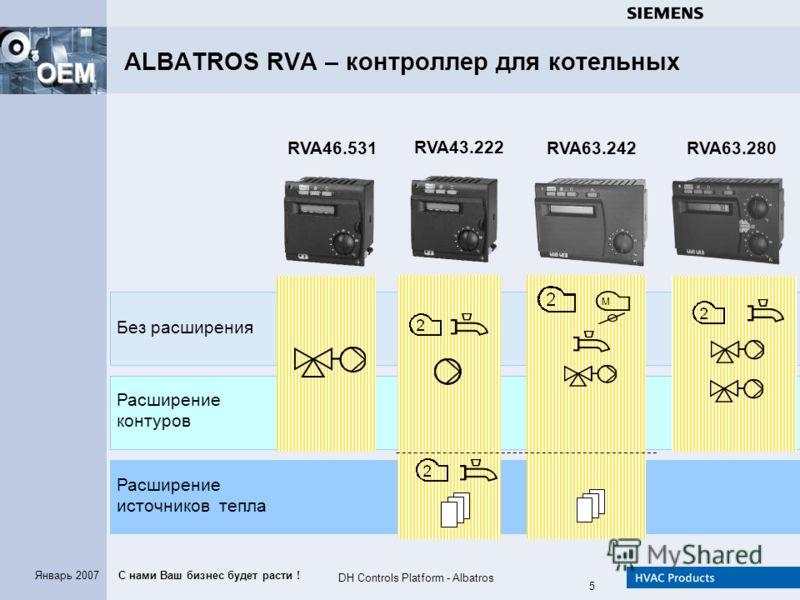 С нами Ваш бизнес будет расти ! OEM DH Controls Platform - Albatros 5 Январь 2007 ALBATROS RVA – контроллер для котельных Без расширения Расширение источников тепла Расширение контуров RVA46.531 RVA43.222 RVA63.280RVA63.242 M