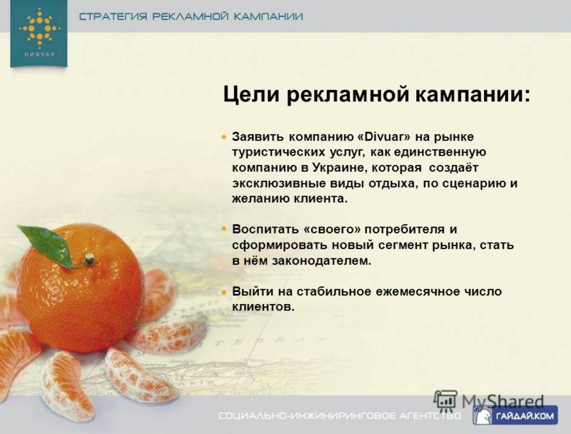 Цели рекламной кампании: Заявить компанию «Divuar» на рынке туристических услуг, как единственную компанию в Украине, которая создаёт эксклюзивные виды отдыха, по сценарию и желанию клиента. Воспитать «своего» потребителя и сформировать новый сегмент