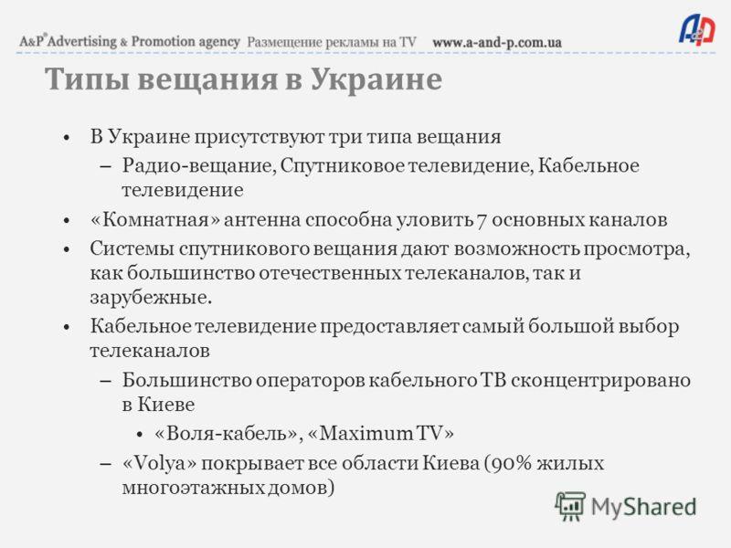 Типы вещания в Украине В Украине присутствуют три типа вещания –Радио-вещание, Спутниковое телевидение, Кабельное телевидение «Комнатная» антенна способна уловить 7 основных каналов Системы спутникового вещания дают возможность просмотра, как большин