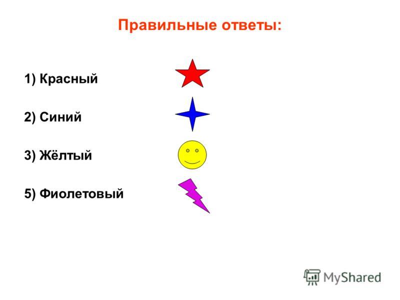 Правильные ответы: 1) Красный 2) Синий 3) Жёлтый 5) Фиолетовый