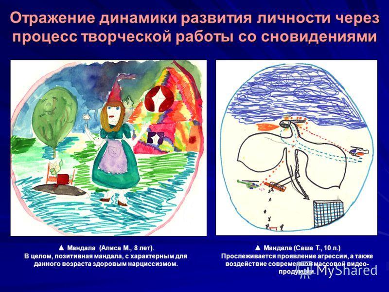 Мандала (Алиса М., 8 лет). В целом, позитивная мандала, с характерным для данного возраста здоровым нарциссизмом. Отражение динамики развития личности через процесс творческой работы со сновидениями Мандала (Саша Т., 10 л.) Прослеживается проявление