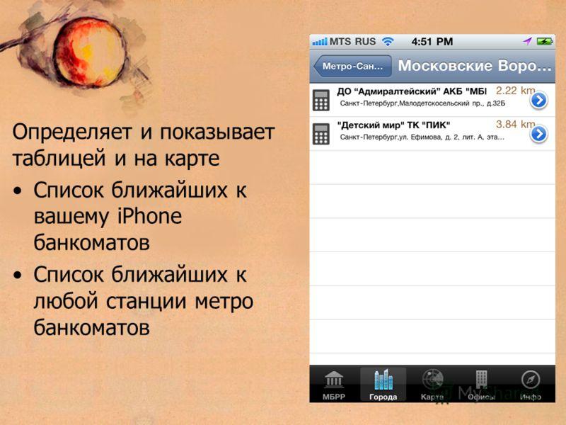 Определяет и показывает таблицей и на карте Список ближайших к вашему iPhone банкоматов Список ближайших к любой станции метро банкоматов