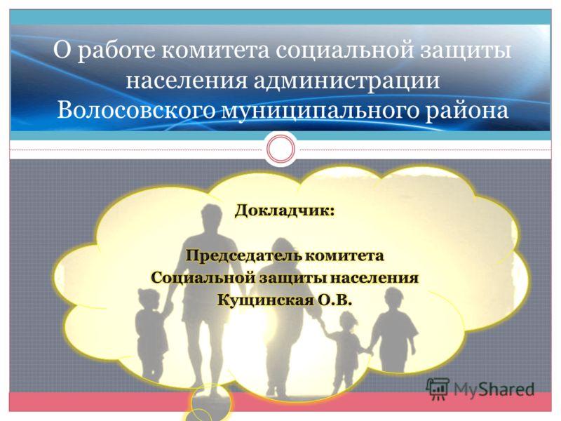 О работе комитета социальной защиты населения администрации Волосовского муниципального района