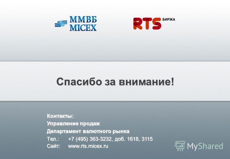 Спасибо за внимание! Контакты: Управление продаж Департамент валютного рынка Tел.:+7 (495) 363-3232, доб. 1618, 3115 Сайт: www.rts.micex.ru