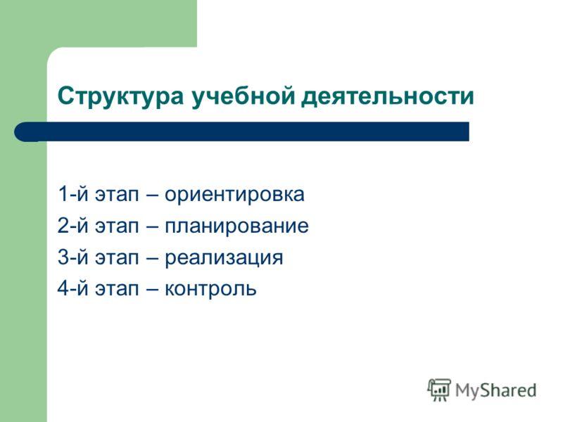 Структура учебной деятельности 1-й этап – ориентировка 2-й этап – планирование 3-й этап – реализация 4-й этап – контроль
