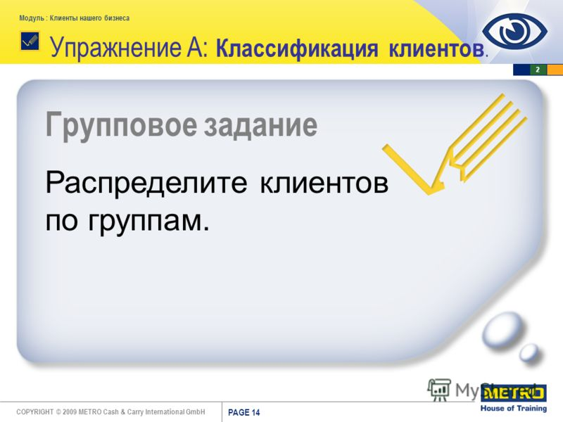 COPYRIGHT © 2009 METRO Cash & Carry International GmbH Модуль : Клиенты нашего бизнеса PAGE 14 Групповое задание Распределите клиентов по группам. Упражнение A: Классификация клиентов. 2
