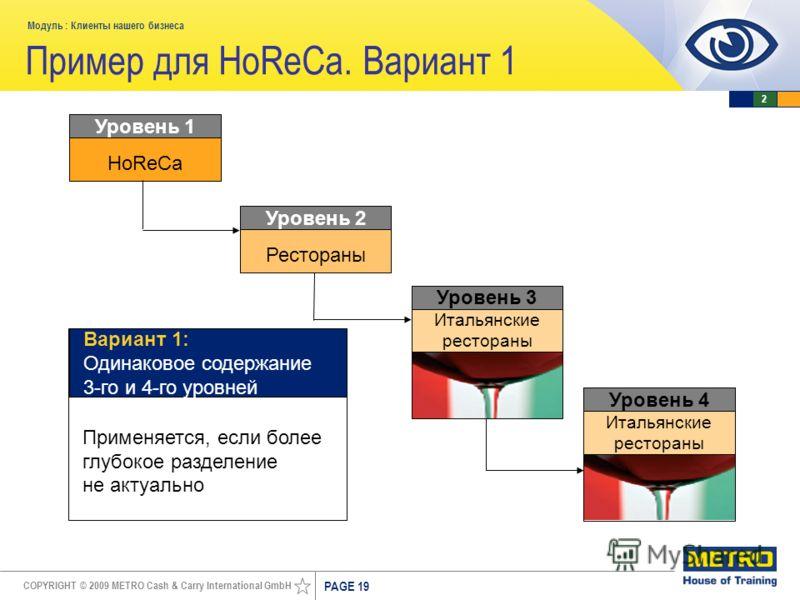 COPYRIGHT © 2009 METRO Cash & Carry International GmbH Модуль : Клиенты нашего бизнеса PAGE 19 Пример для HoReCa. Вариант 1 HoReCa Уровень 1 Применяется, если более глубокое разделение не актуально Вариант 1: Одинаковое содержание 3-го и 4-го уровней