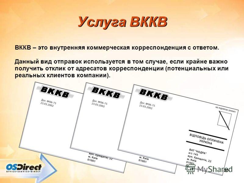 -30- Услуга ВККВ ВККВ – это внутренняя коммерческая корреспонденция с ответом. Данный вид отправок используется в том случае, если крайне важно получить отклик от адресатов корреспонденции (потенциальных или реальных клиентов компании).