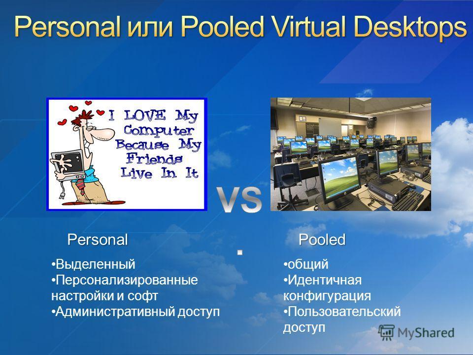 Выделенный Персонализированные настройки и софт Административный доступ общий Идентичная конфигурация Пользовательский доступ