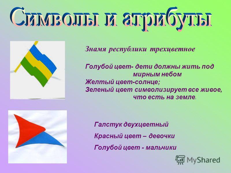 Знамя республики трехцветное Голубой цвет- дети должны жить под мирным небом Желтый цвет-солнце; Зеленый цвет символизирует все живое, что есть на земле. Галстук двухцветный Красный цвет – девочки Голубой цвет - мальчики