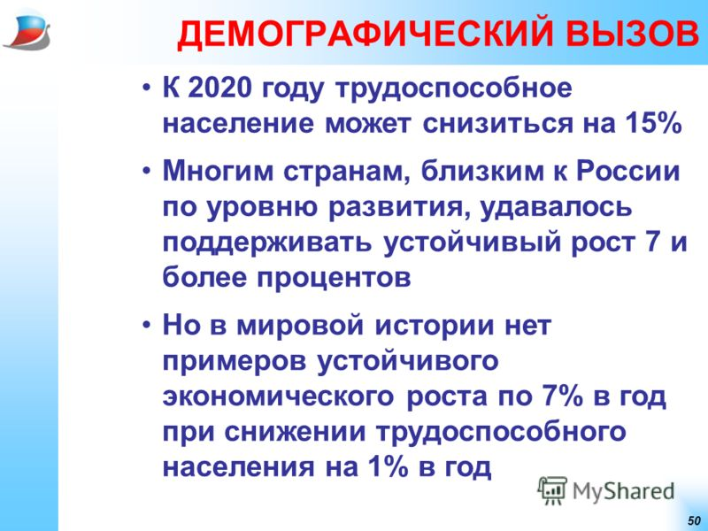 50 ДЕМОГРАФИЧЕСКИЙ ВЫЗОВ К 2020 году трудоспособное население может снизиться на 15% Многим странам, близким к России по уровню развития, удавалось поддерживать устойчивый рост 7 и более процентов Но в мировой истории нет примеров устойчивого экономи