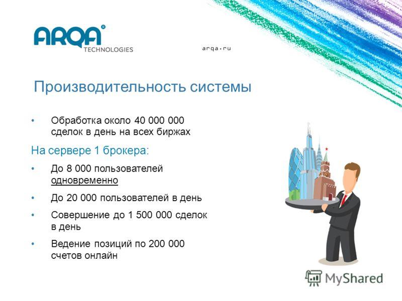 arqa.ru Производительность системы Обработка около 40 000 000 сделок в день на всех биржах На сервере 1 брокера: До 8 000 пользователей одновременно До 20 000 пользователей в день Совершение до 1 500 000 сделок в день Ведение позиций по 200 000 счето