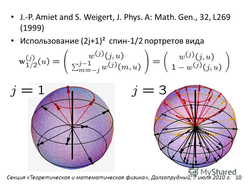 J.-P. Amiet and S. Weigert, J. Phys. A: Math. Gen., 32, L269 (1999) Использование (2j+1)² спин-1/2 портретов вида Секция «Теоретическая и математическая физика», Долгопрудный, 7 июля 2010 г.10