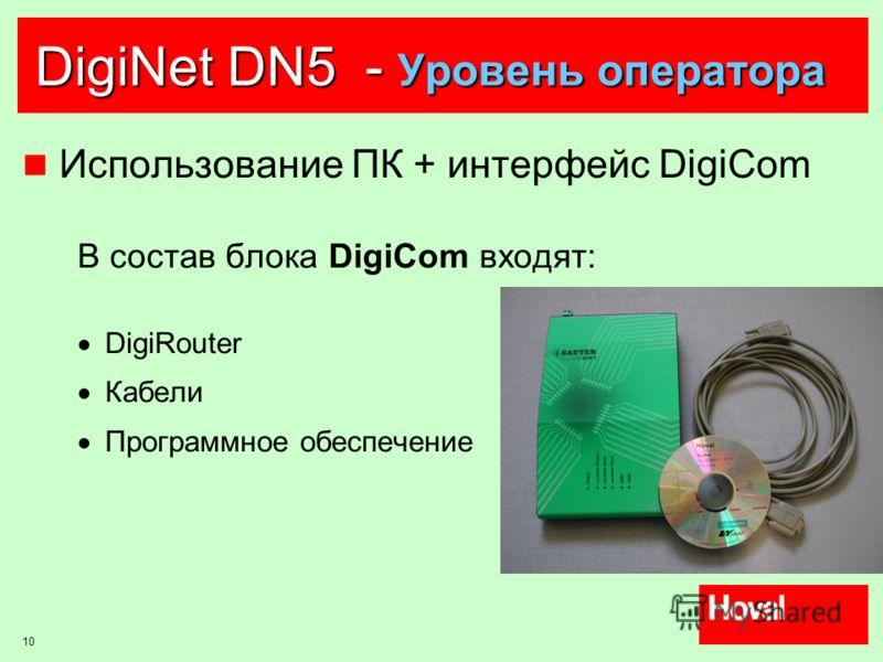 10 DigiNet DN5 - Уровень оператора Использование ПК + интерфейс DigiCom В состав блока DigiCom входят: DigiRouter Кабели Программное обеспечение