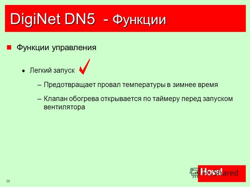 35 DigiNet DN5 - Функции Функции управления Легкий запуск –Предотвращает провал температуры в зимнее время –Клапан обогрева открывается по таймеру перед запуском вентилятора