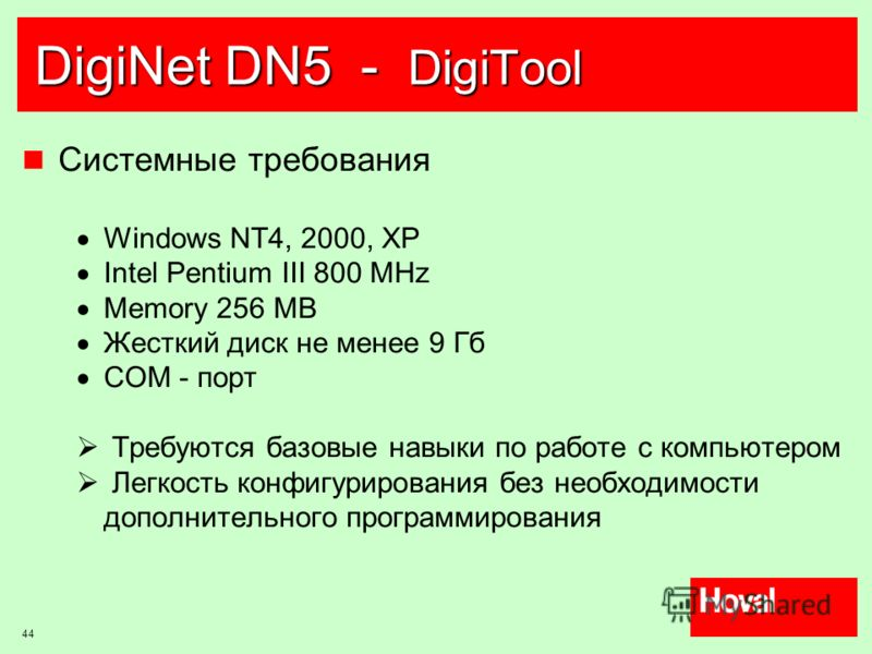 44 DigiNet DN5 - DigiTool Системные требования Windows NT4, 2000, XP Intel Pentium III 800 MHz Memory 256 MB Жесткий диск не менее 9 Гб COM - порт Требуются базовые навыки по работе с компьютером Легкость конфигурирования без необходимости дополнител