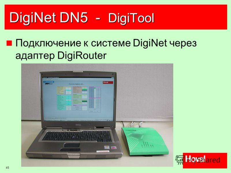 45 DigiNet DN5 - DigiTool Подключение к системе DigiNet через адаптер DigiRouter