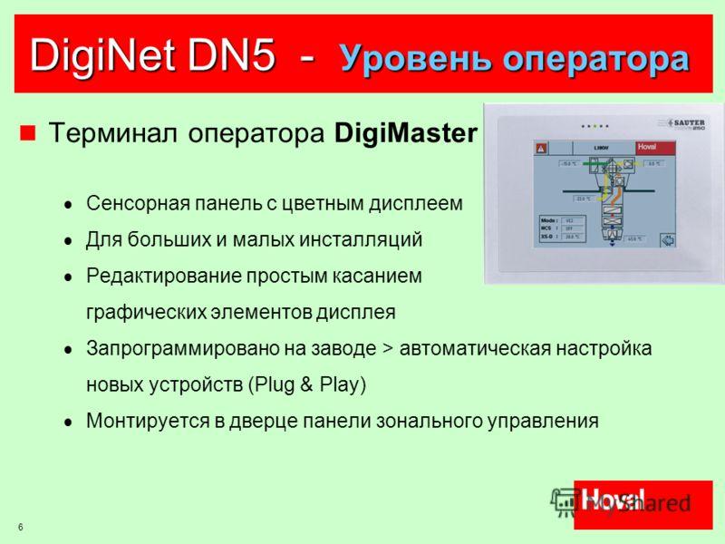 6 DigiNet DN5 - Уровень оператора Терминал оператора DigiMaster Сенсорная панель с цветным дисплеем Для больших и малых инсталляций Редактирование простым касанием графических элементов дисплея Запрограммировано на заводе > автоматическая настройка н