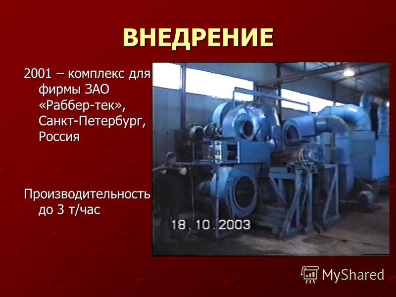 ВНЕДРЕНИЕ 2001 – комплекс для фирмы ЗАО «Раббер-тек», Санкт-Петербург, Россия Производительность до 3 т/час
