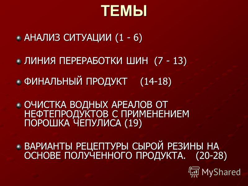 ТЕМЫ АНАЛИЗ СИТУАЦИИ (1 - 6) ЛИНИЯ ПЕРЕРАБОТКИ ШИН (7 - 13) ФИНАЛЬНЫЙ ПРОДУКТ (14-18) ОЧИСТКА ВОДНЫХ АРЕАЛОВ ОТ НЕФТЕПРОДУКТОВ С ПРИМЕНЕНИЕМ ПОРОШКА ЧЕПУЛИСА (19) ВАРИАНТЫ РЕЦЕПТУРЫ СЫРОЙ РЕЗИНЫ НА ОСНОВЕ ПОЛУЧЕННОГО ПРОДУКТА. (20-28)