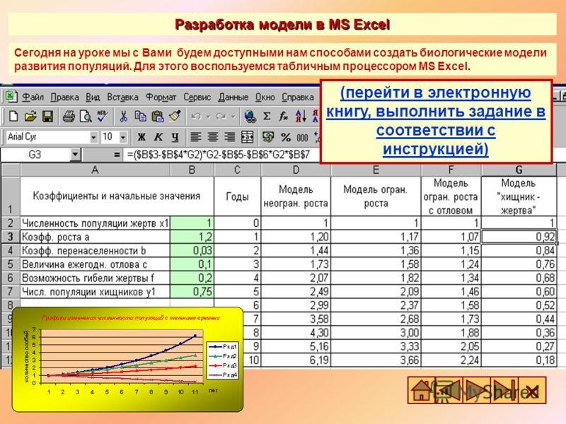 Разработка модели в MS Excel Сегодня на уроке мы с Вами будем доступными нам способами создать биологические модели развития популяций. Для этого воспользуемся табличным процессором MS Excel. (перейти в электронную книгу, выполнить задание в соответс