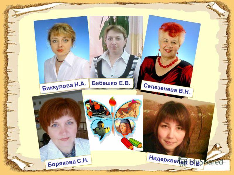 Биккулова Н.А. Бабешко Е.В. Селезенева В.Н. Борякова С.Н. Нидерквельд О.В.