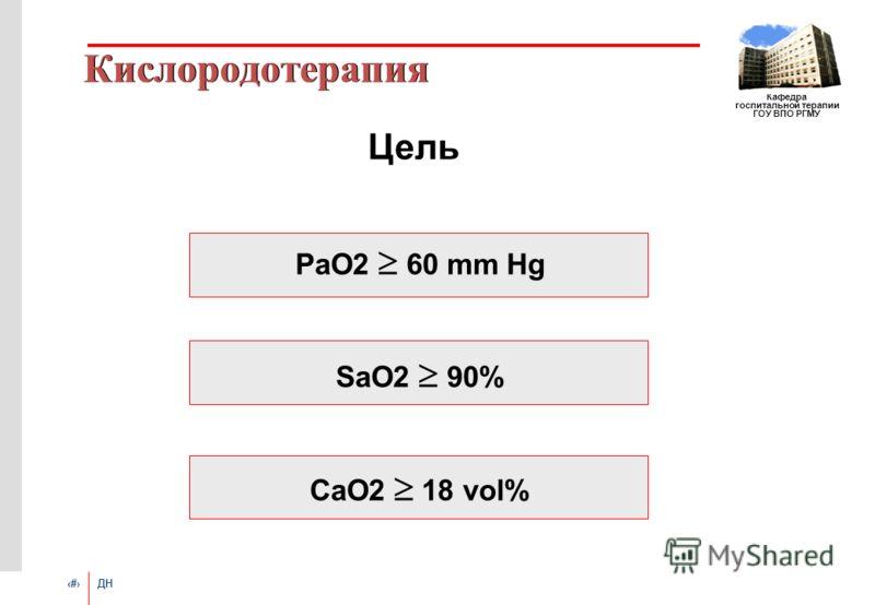 # ДН Кафедра госпитальной терапии ГОУ ВПО РГМУ Кислородотерапия Цель PaO2 60 mm Hg SaO2 90% CaO2 18 vol%