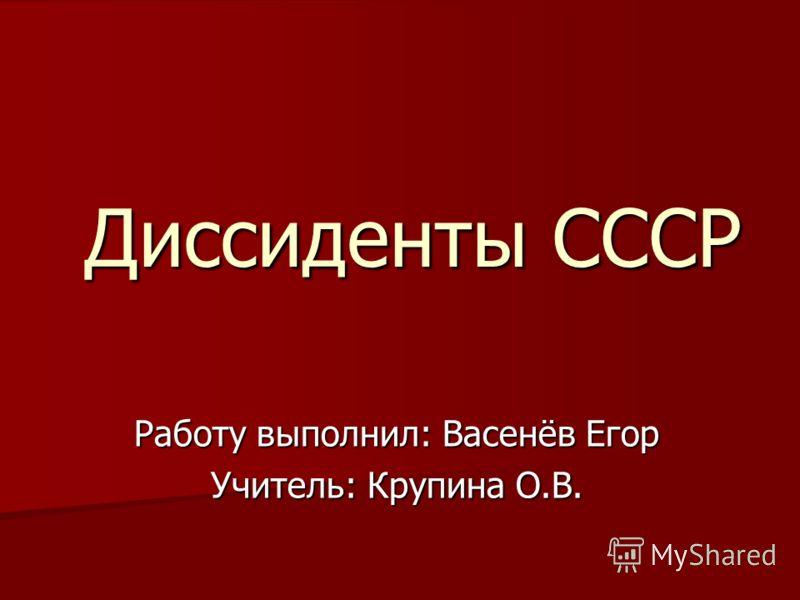 Работу выполнил: Васенёв Егор Учитель: Крупина О.В. Диссиденты СССР