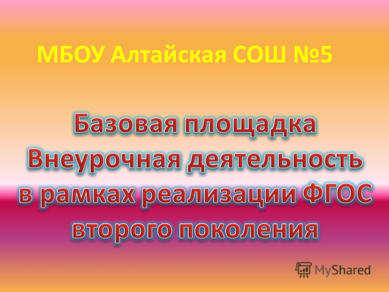 МБОУ Алтайская СОШ 5