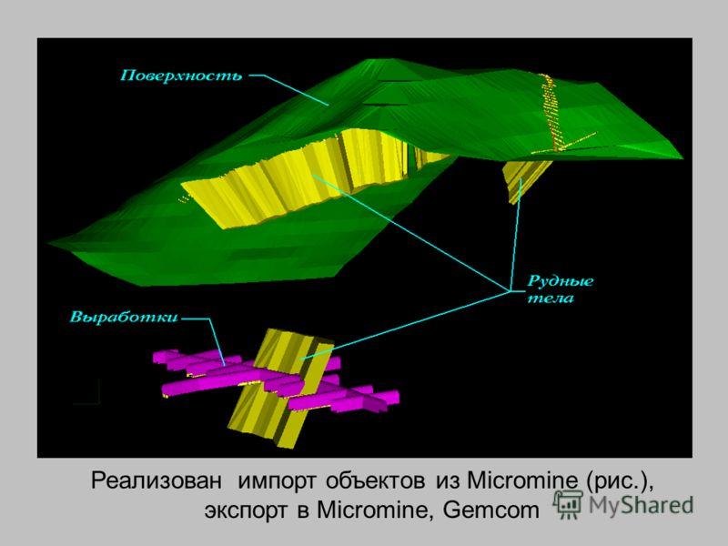 Реализован импорт объектов из Micromine (рис.), экспорт в Micromine, Gemcom