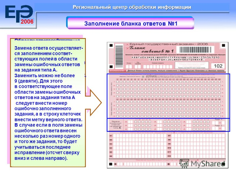 2006 Региональный центр обработки информации Заполнение бланка ответов 1 В средней части бланка ответов 1 расположены поля для записи ответов на задания с выбором ответа из предложенных вариантов (типа А). Максимальное количество таких заданий – 60 (
