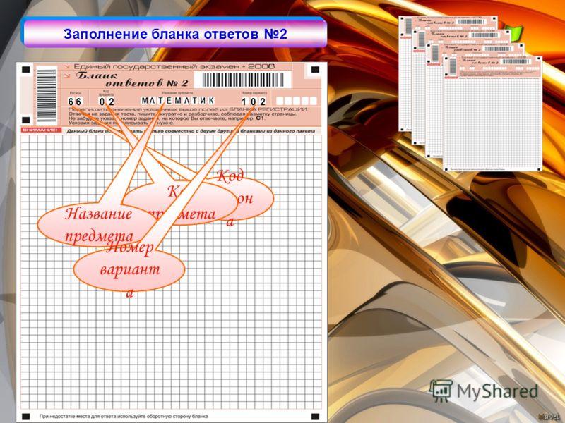 6 6 0 2 1 0 2 Код регион а Код предмета Название предмета Номер вариант а Заполнение бланка ответов 2 МТ АМЕА ТИК