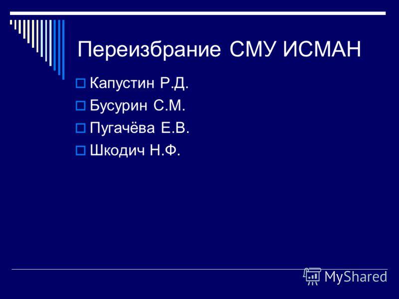 Переизбрание СМУ ИСМАН Капустин Р.Д. Бусурин С.М. Пугачёва Е.В. Шкодич Н.Ф.
