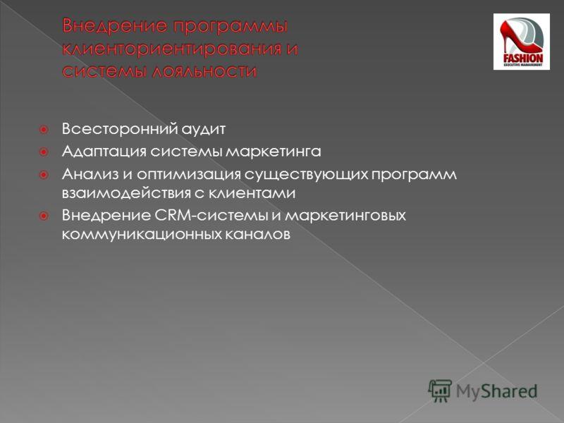 Всесторонний аудит Адаптация системы маркетинга Анализ и оптимизация существующих программ взаимодействия с клиентами Внедрение CRM-системы и маркетинговых коммуникационных каналов