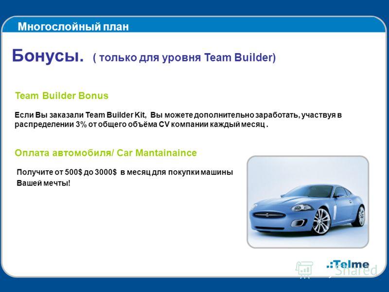 Многослойный план Бонусы. ( только для уровня Team Builder) Team Builder Bonus Если Вы заказали Team Builder Kit, Вы можете дополнительно заработать, участвуя в распределении 3% от общего объёма CV компании каждый месяц. Оплата автомобиля/ Car Mantai