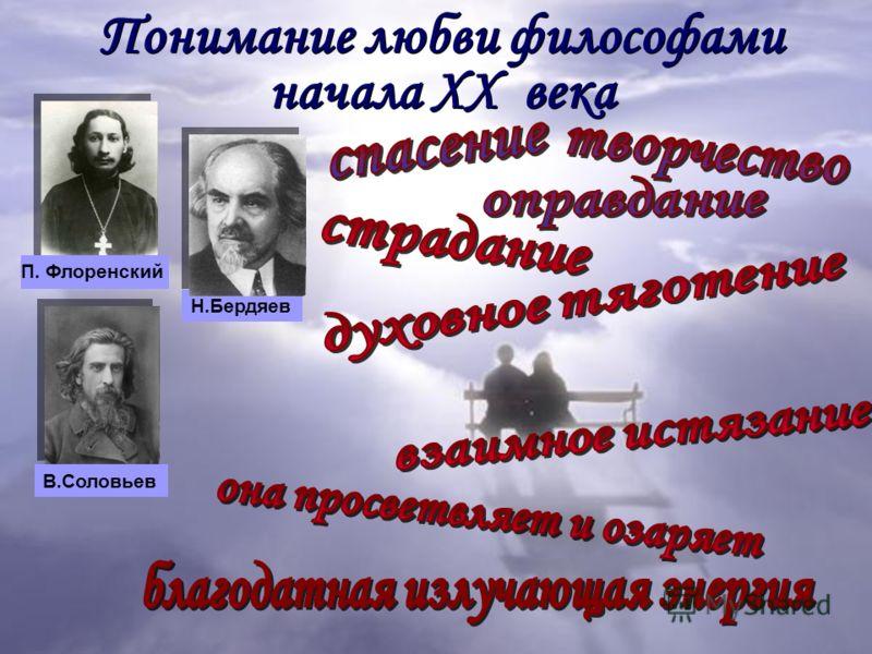 Понимание любви философами начала XX века П. Флоренский Н.Бердяев В.Соловьев