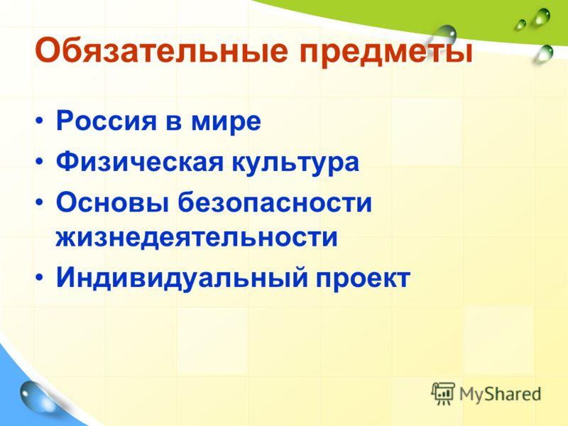 Обязательные предметы Россия в мире Физическая культура Основы безопасности жизнедеятельности Индивидуальный проект