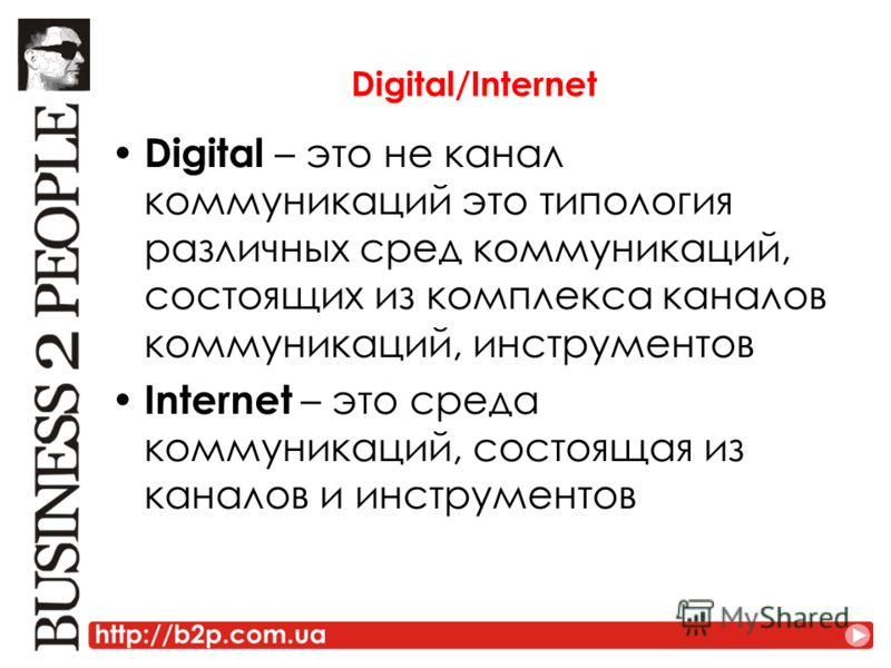 Digital/Internet Digital – это не канал коммуникаций это типология различных сред коммуникаций, состоящих из комплекса каналов коммуникаций, инструментов Internet – это среда коммуникаций, состоящая из каналов и инструментов