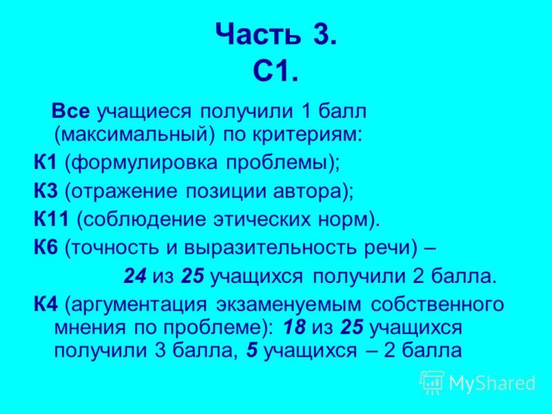 Часть 3. С1. Все учащиеся получили 1 балл (максимальный) по критериям: К1 (формулировка проблемы); К3 (отражение позиции автора); К11 (соблюдение этических норм). К6 (точность и выразительность речи) – 24 из 25 учащихся получили 2 балла. К4 (аргумент