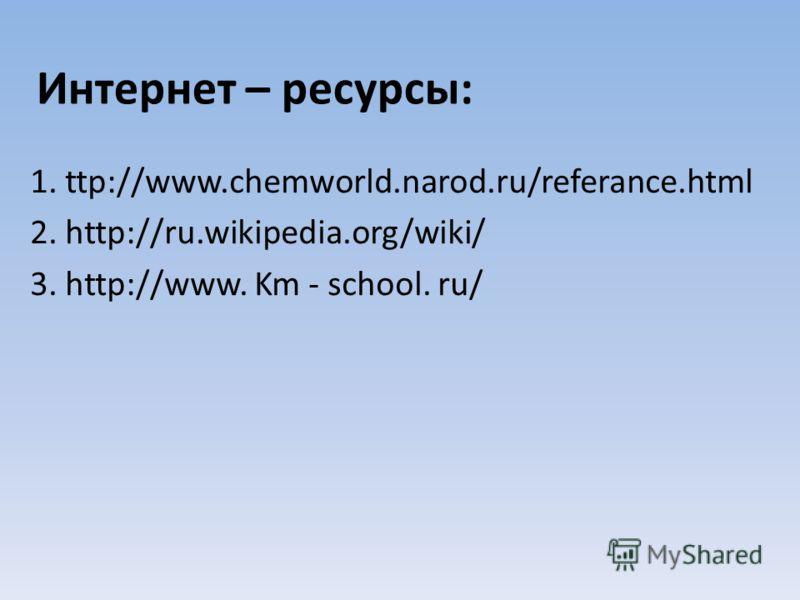 Интернет – ресурсы: 1. ttp://www.chemworld.narod.ru/referance.html 2. http://ru.wikipedia.org/wiki/ 3. http://www. Km - school. ru/