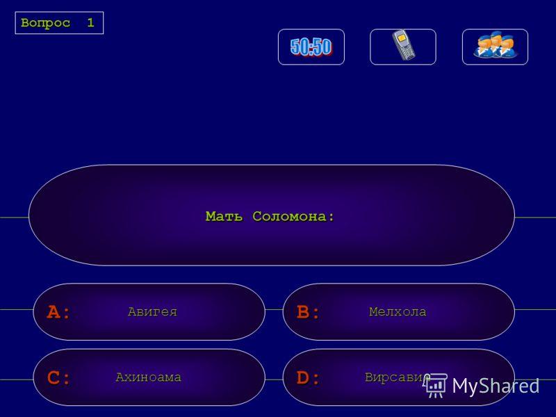 A: C: B: D: Мать Соломона: АвигеяМелхола АхиноамаВирсавия Вопрос1