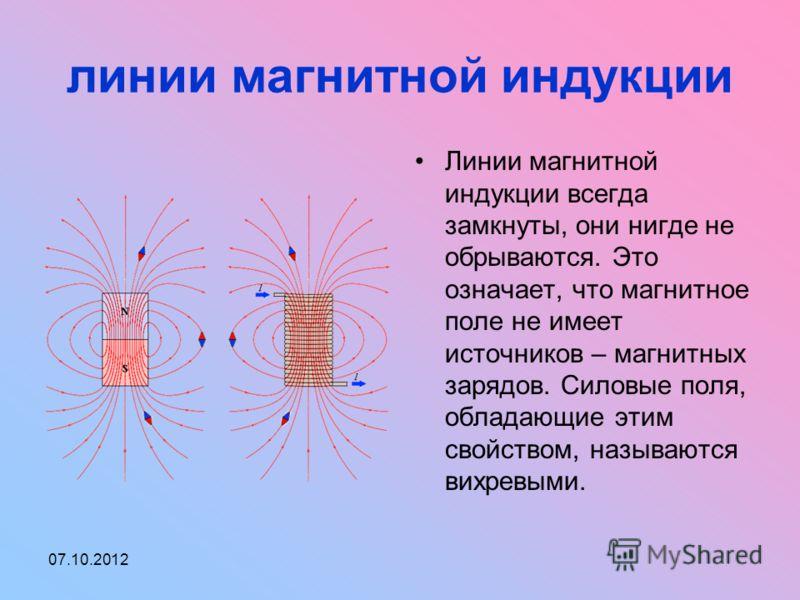 01.08.2012 линии магнитной индукции Линии магнитной индукции всегда замкнуты, они нигде не обрываются. Это означает, что магнитное поле не имеет источников – магнитных зарядов. Силовые поля, обладающие этим свойством, называются вихревыми.