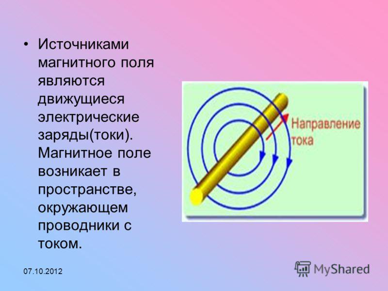 01.08.2012 Источниками магнитного поля являются движущиеся электрические заряды(токи). Магнитное поле возникает в пространстве, окружающем проводники с током.