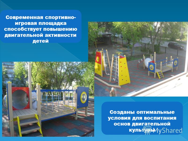 Современная спортивно- игровая площадка способствует повышению двигательной активности детей Созданы оптимальные условия для воспитания основ двигательной культуры