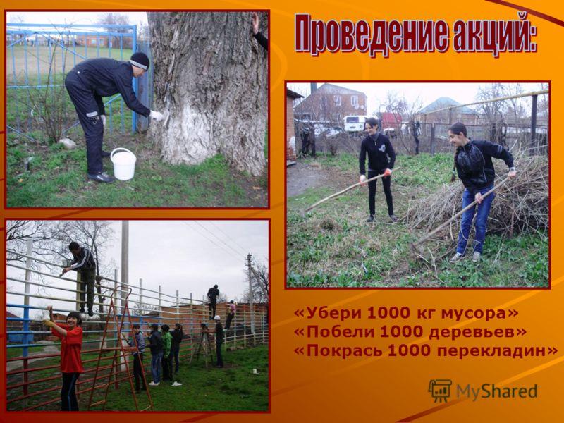«Убери 1000 кг мусора» «Побели 1000 деревьев» «Покрась 1000 перекладин»